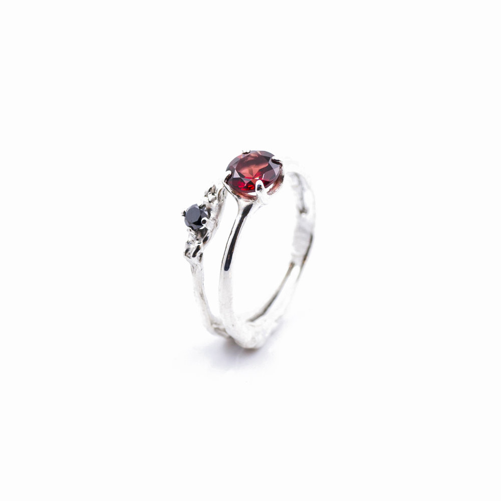 Towers Double Band : Sterling silver, garnet, black diamond