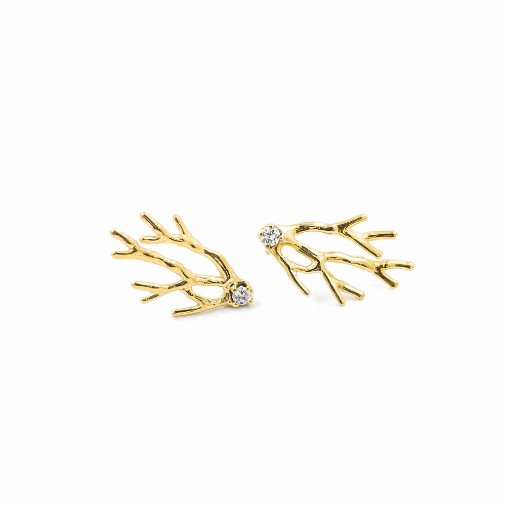 Dendrite Earrings18ct yellow gold,brilliant white diamonds