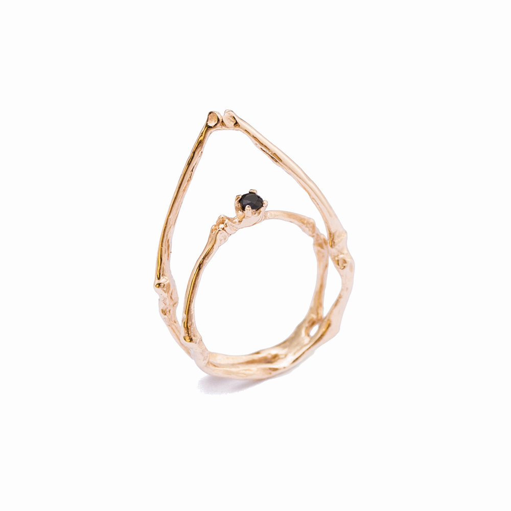 TOWERS Ring  9ct rose gold, black diamond