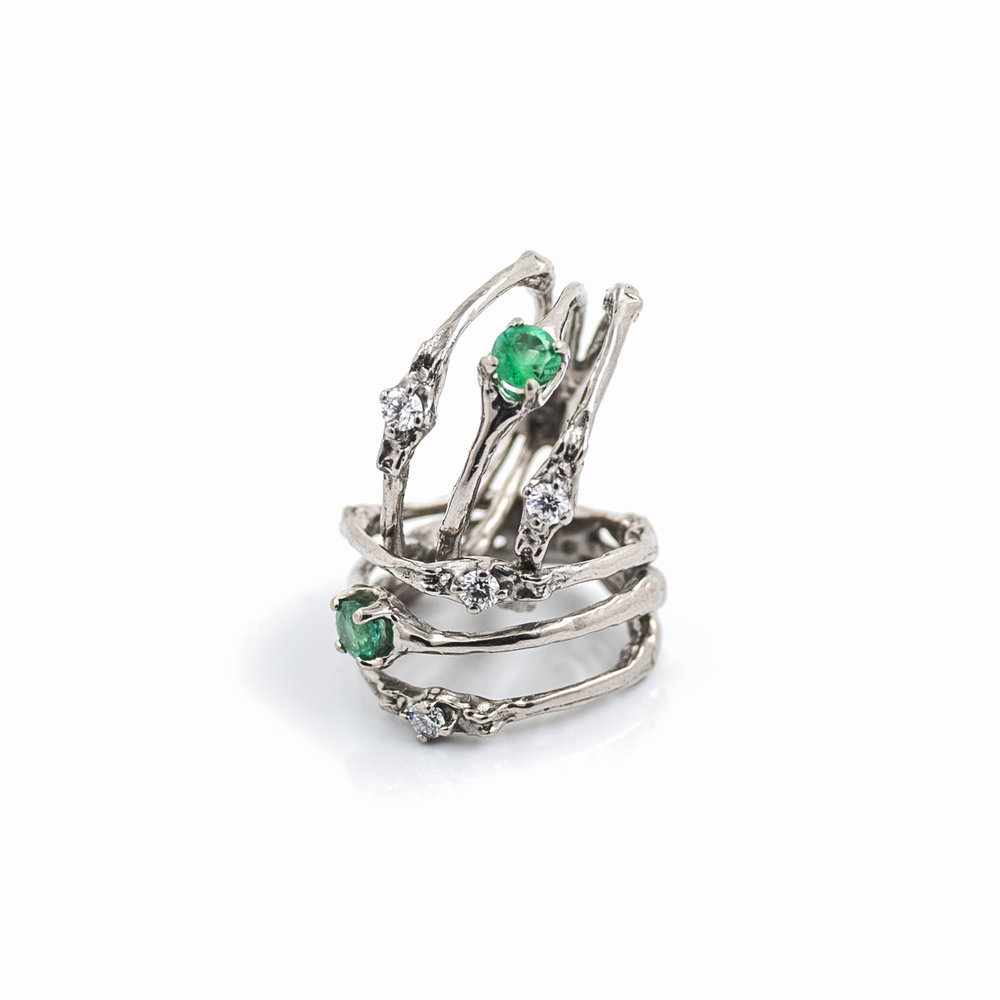 Towers Triple Band: 18ct white gold, emerald, white diamonds