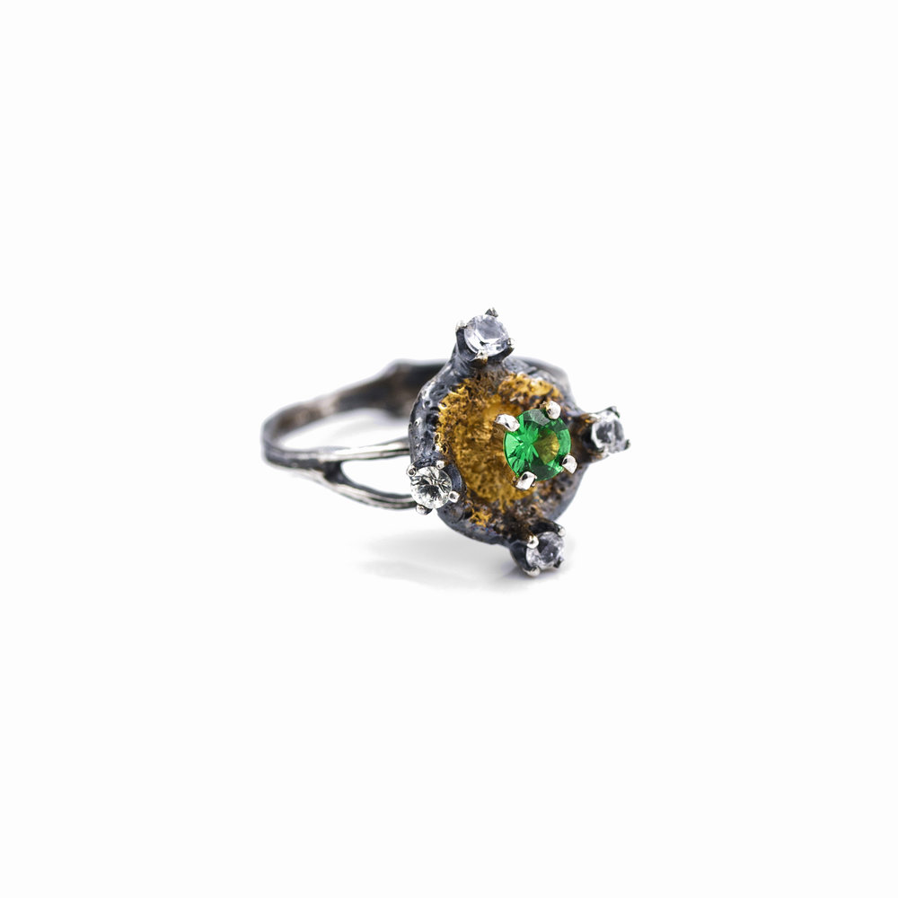 Fluorophore Ring :Sterling silver, tsavorite, sapphires, gold vermeil, patina