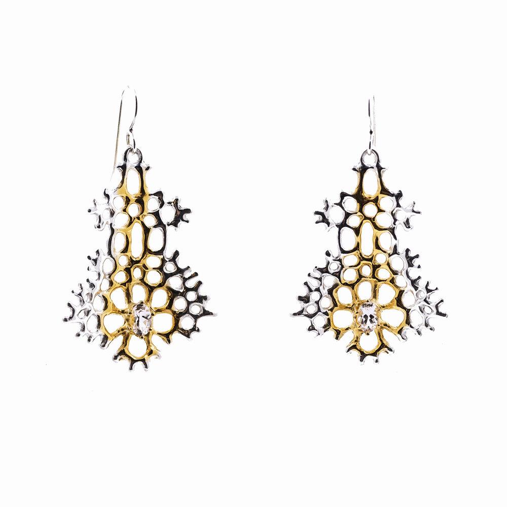 Radial EarringsSterling silver, morganite, gold vermeil