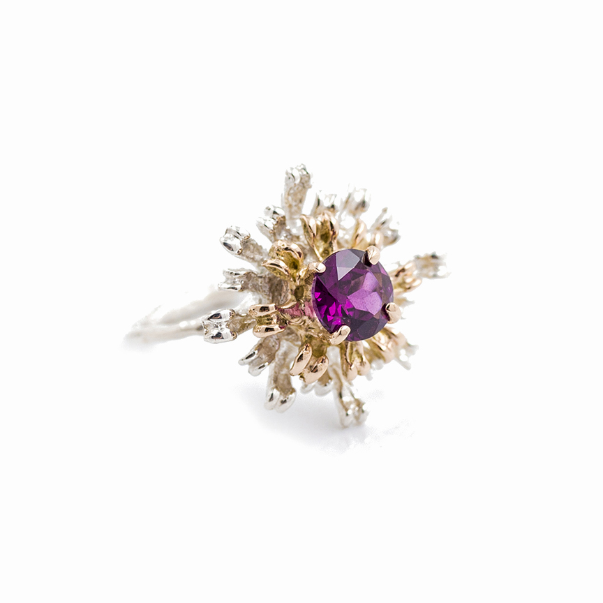THE FLOWERS REMAINING RING9ct rose gold, sterling silver, rhodalite garnet
