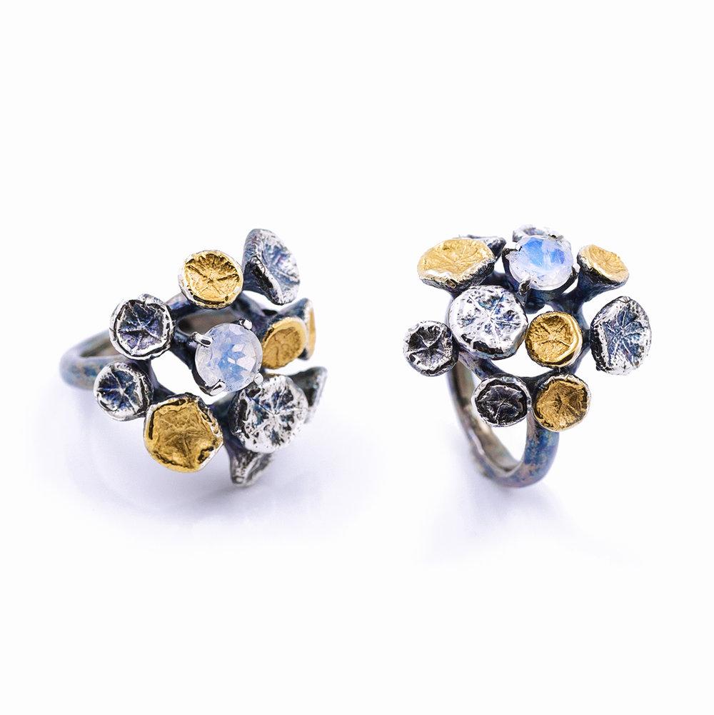 Myriad RingSterling silver, moonstone, gold vermeil, patina