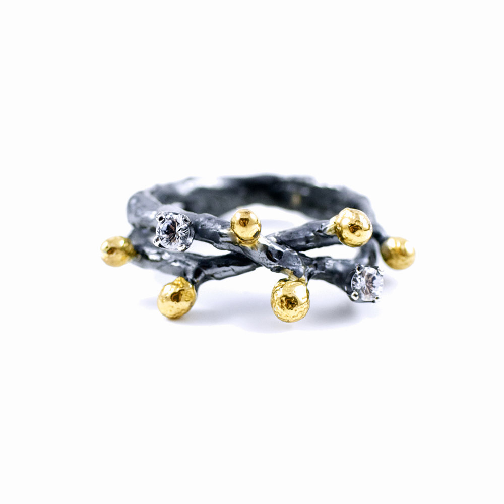 Efflorescence RINGSterling silver, white sapphires, gold vermeil, patina