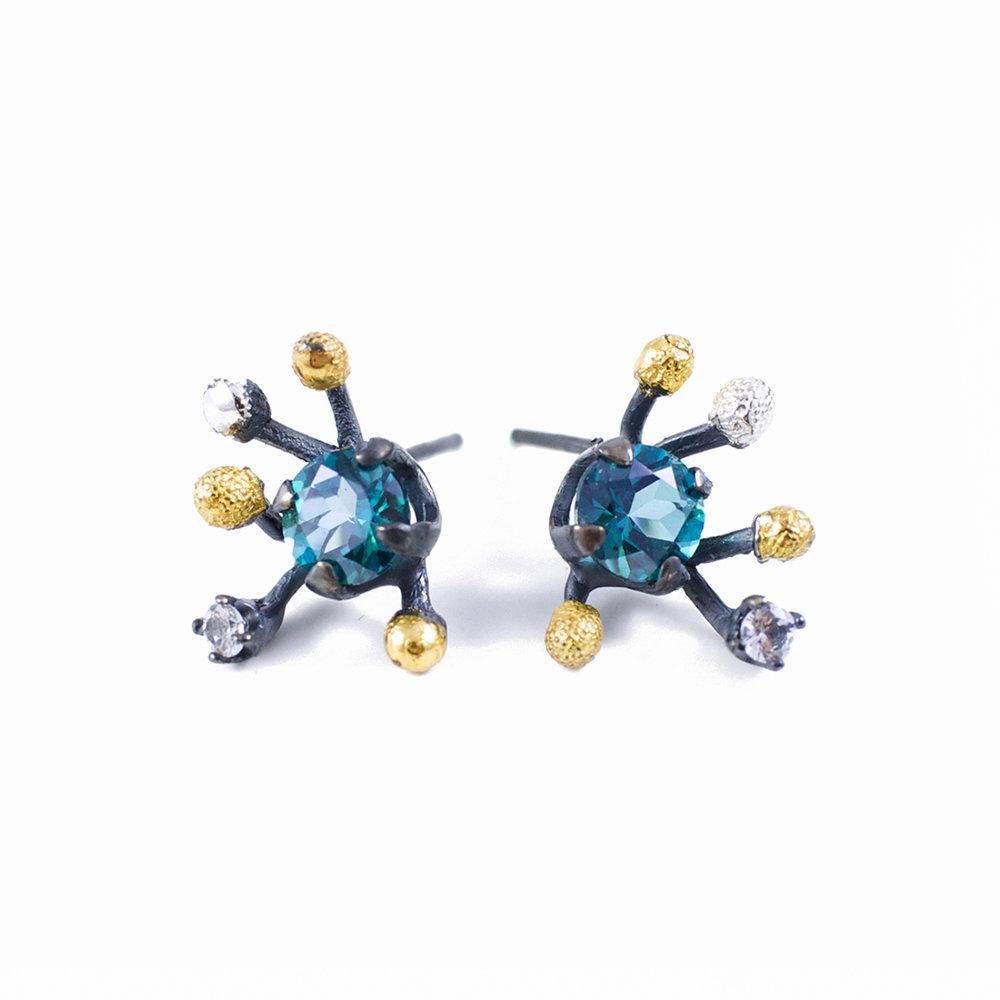 Sea EarringsSterling silver, topaz, tanzanite, gold vermeil, patina