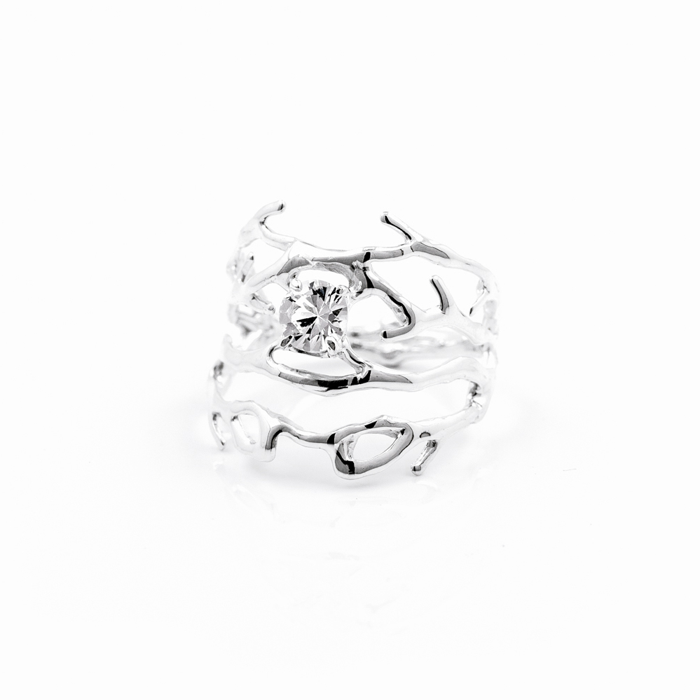 Purkinje ring in silver with white sapphire,, 2015