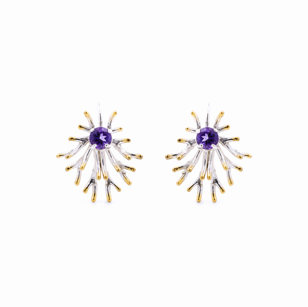 Astrocyte earrings, sterling silver, amethyst