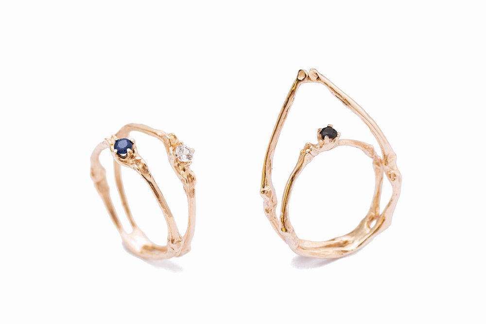 Towers rings // 9ct rose gold, blue and white Sapphires (left) black diamond (right) (2015)