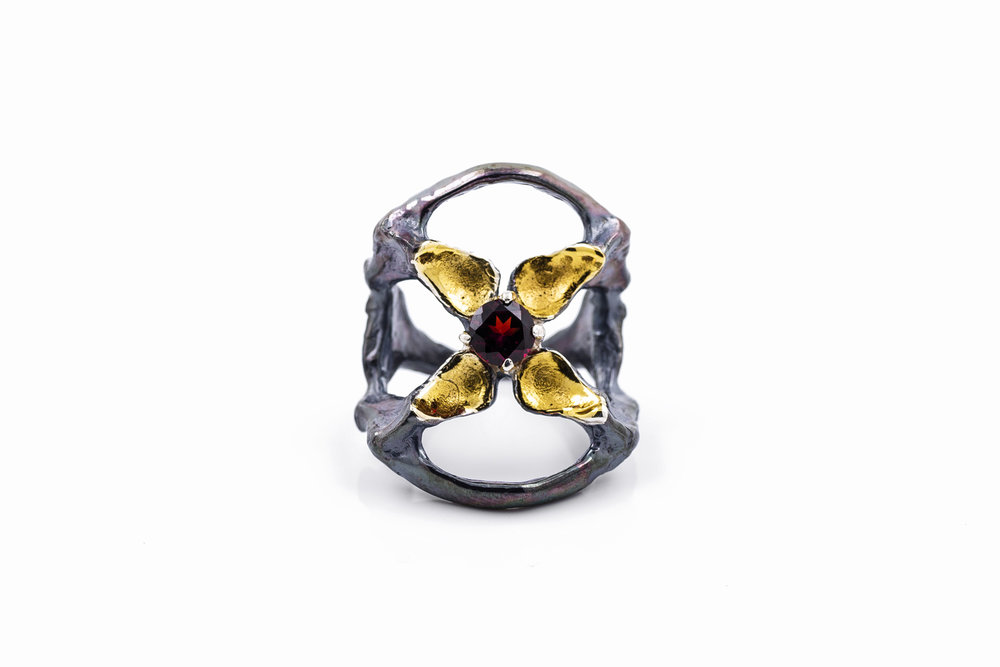 Unfolded Ring // solid Argentium Sterling Silver, garnet (2014)