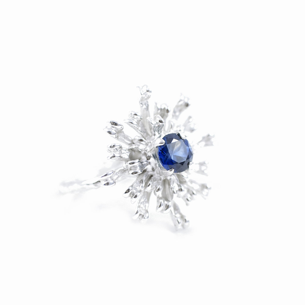 Signature Ring - The Flowers Remaining  for   Greensmith  // solid Argentium Sterling Silver, Australian blue Sapphire (2014)