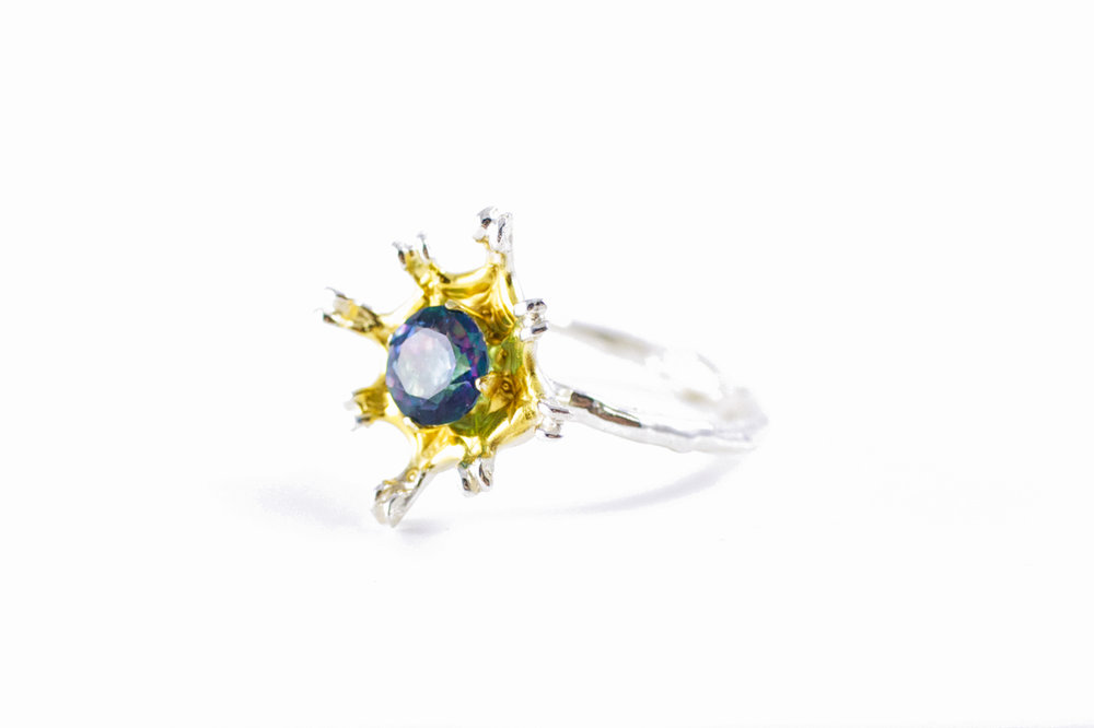 Flowers Remaining ring // solid Argentium Sterling Silver, Gold vermeil, Topaz (2014)
