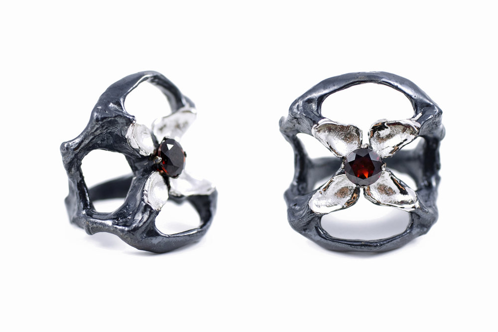 Unfolded Ring - The Flowers Remaining for  Greensmith Exhibition  // solid Argentium Sterling Silver, Garnet (2014)