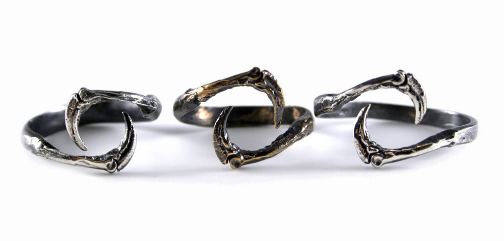 Talon Rings // Bronze and solid Argentium Sterling Silver (2012)