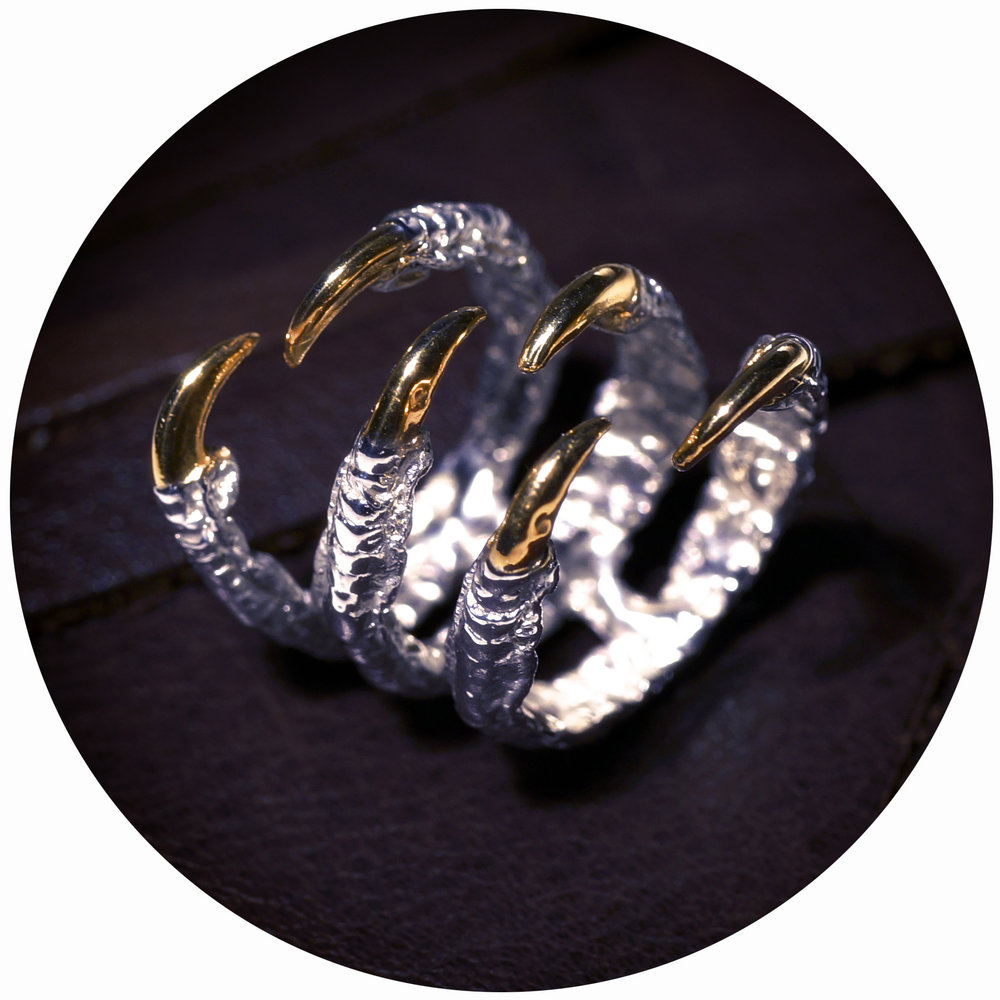 Gold Triple Claw Ring // solid Argentium Sterling Silver and Gold Vermeil (2013)