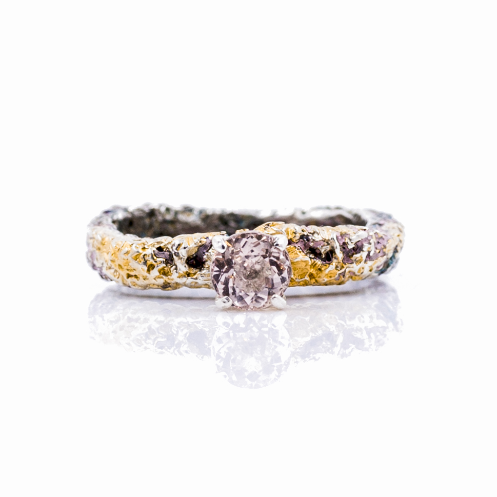 FRAGMENT SOLITAIRE RINGSterling silver, morganite, paint, gold vermeil, patina