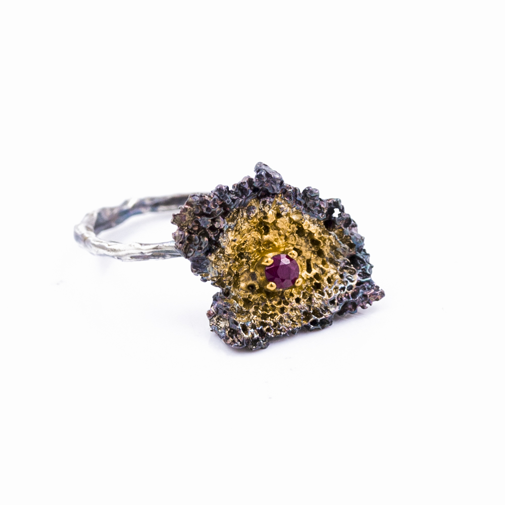 Small FRAGMENT PENDANT Sterling silver, ruby,gold vermeil, patina