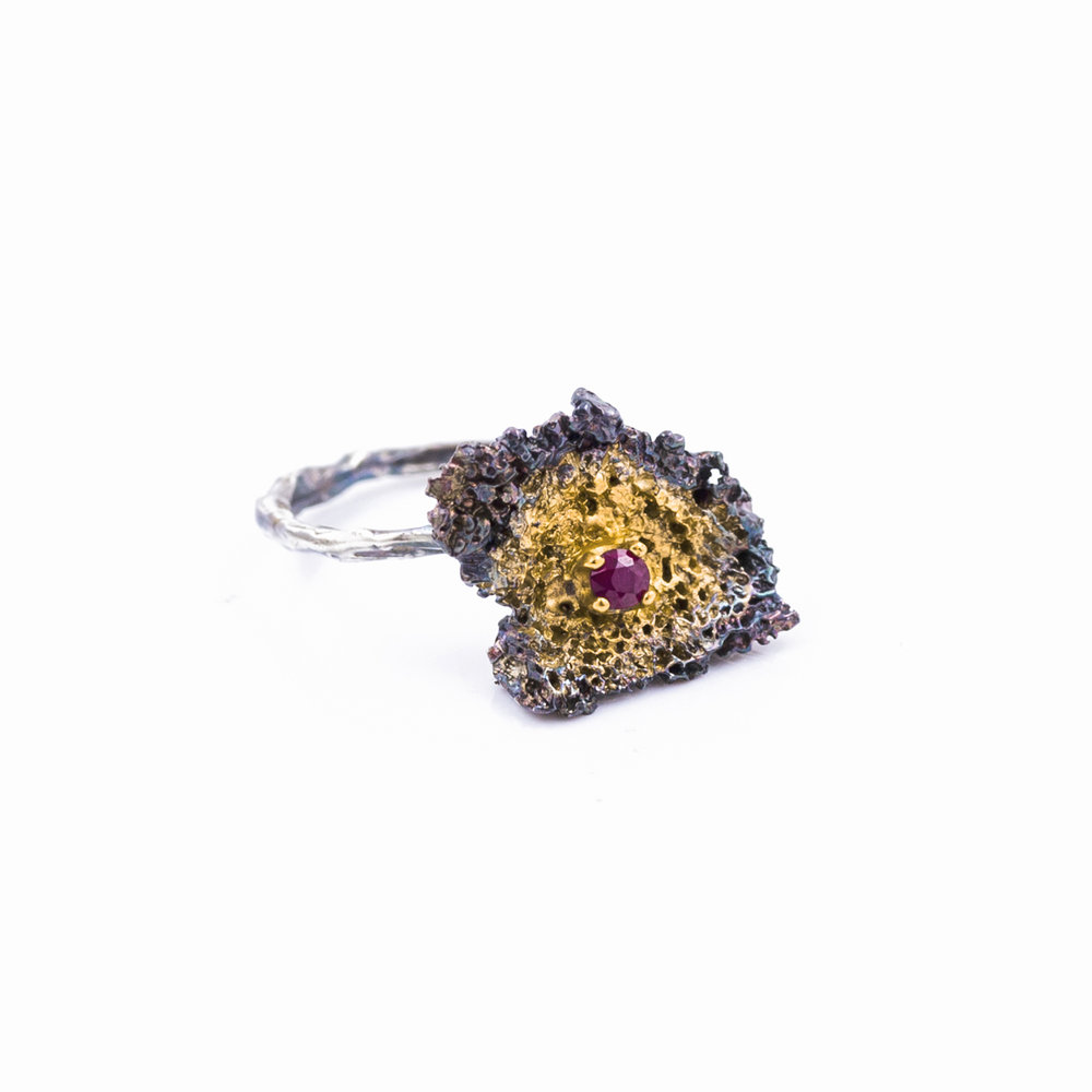 Graceful Inner Islands / Small Inner Island Ring : Sterling silver, ruby, gold vermeil, patina