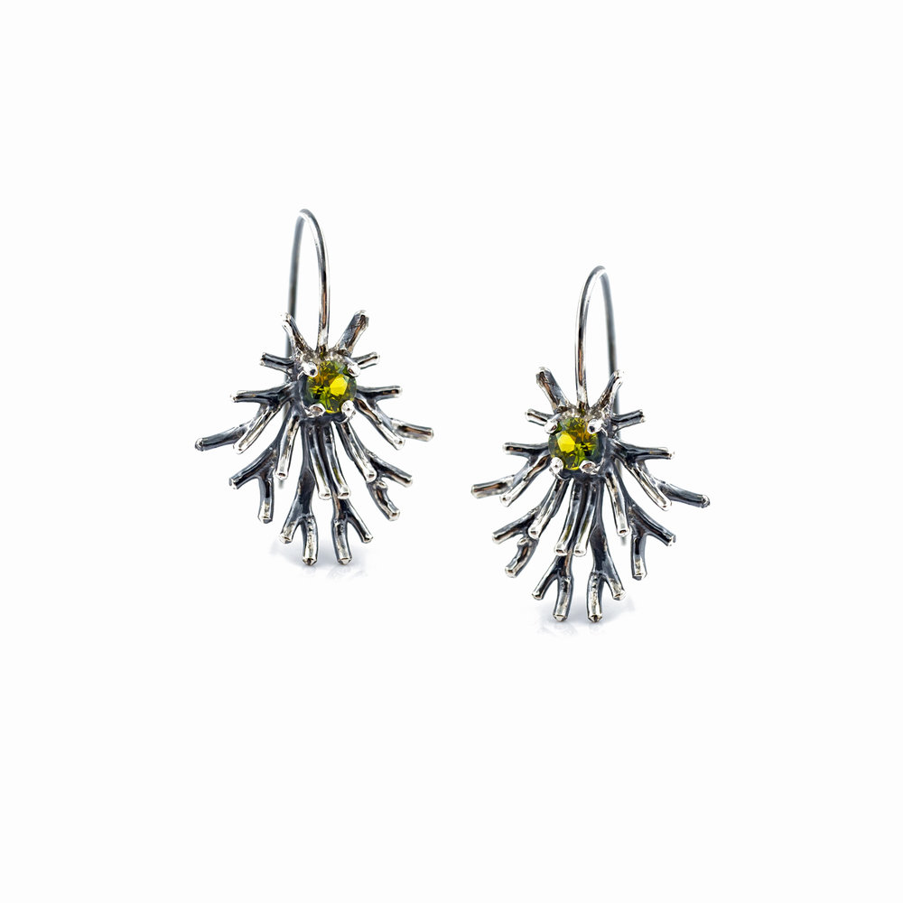 Astrocyte Earrings : Sterling silver, Australian sapphires, patina.