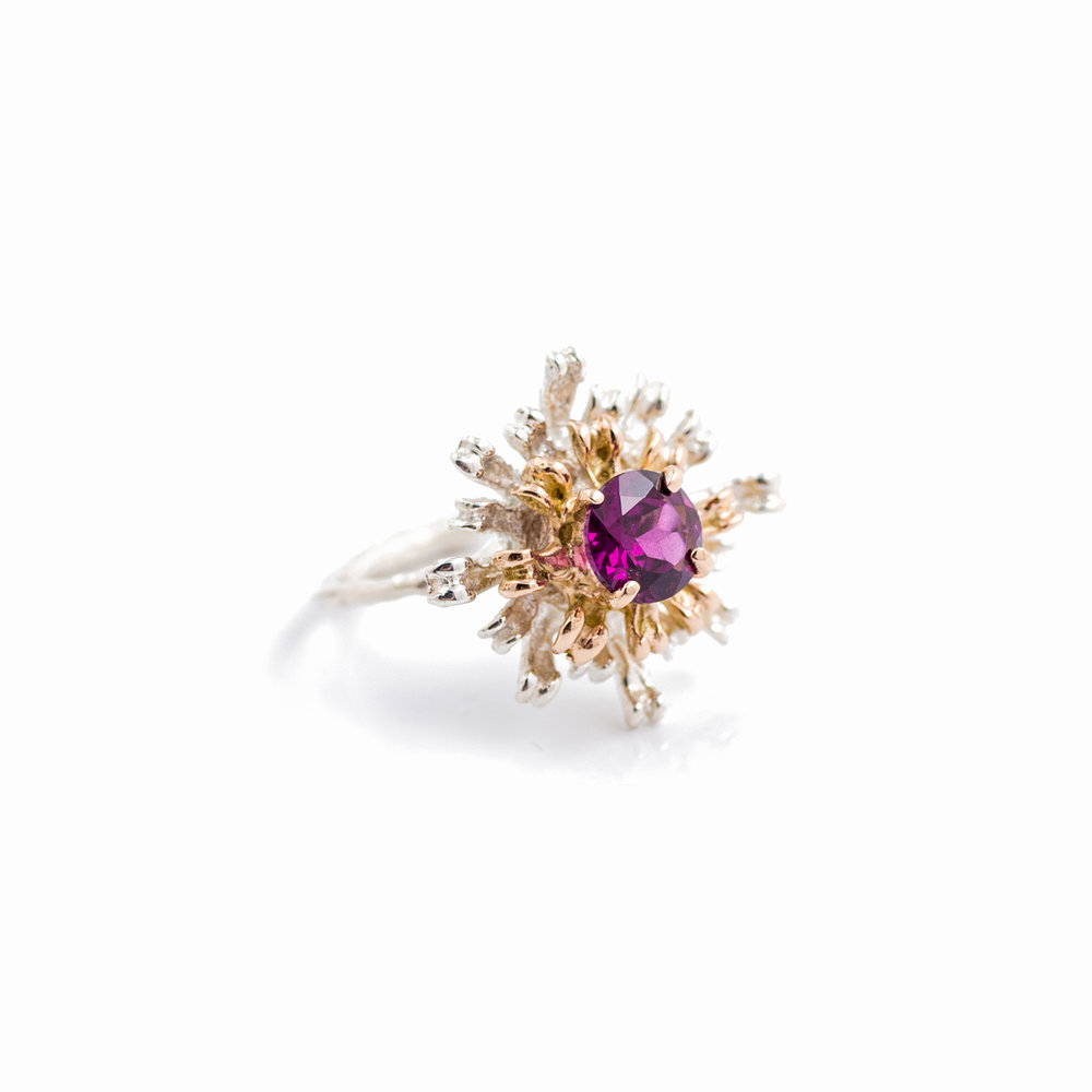 Flowers Remaining Ring : Rose gold, sterling silver, rhodalite garnet