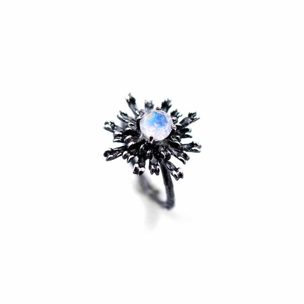 Flowers Remaining Ring : Oxidised sterling silver, moonstone
