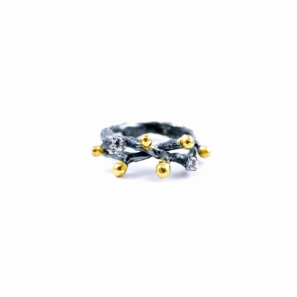 Efflorescence Ring : Sterling silver, white sapphires, gold vermeil, patina