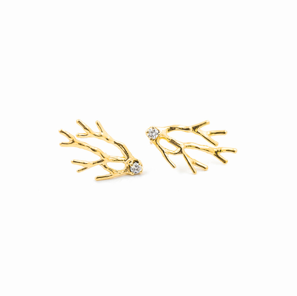 Dendrite Earrings: 18ct yellow gold, brilliant white diamonds