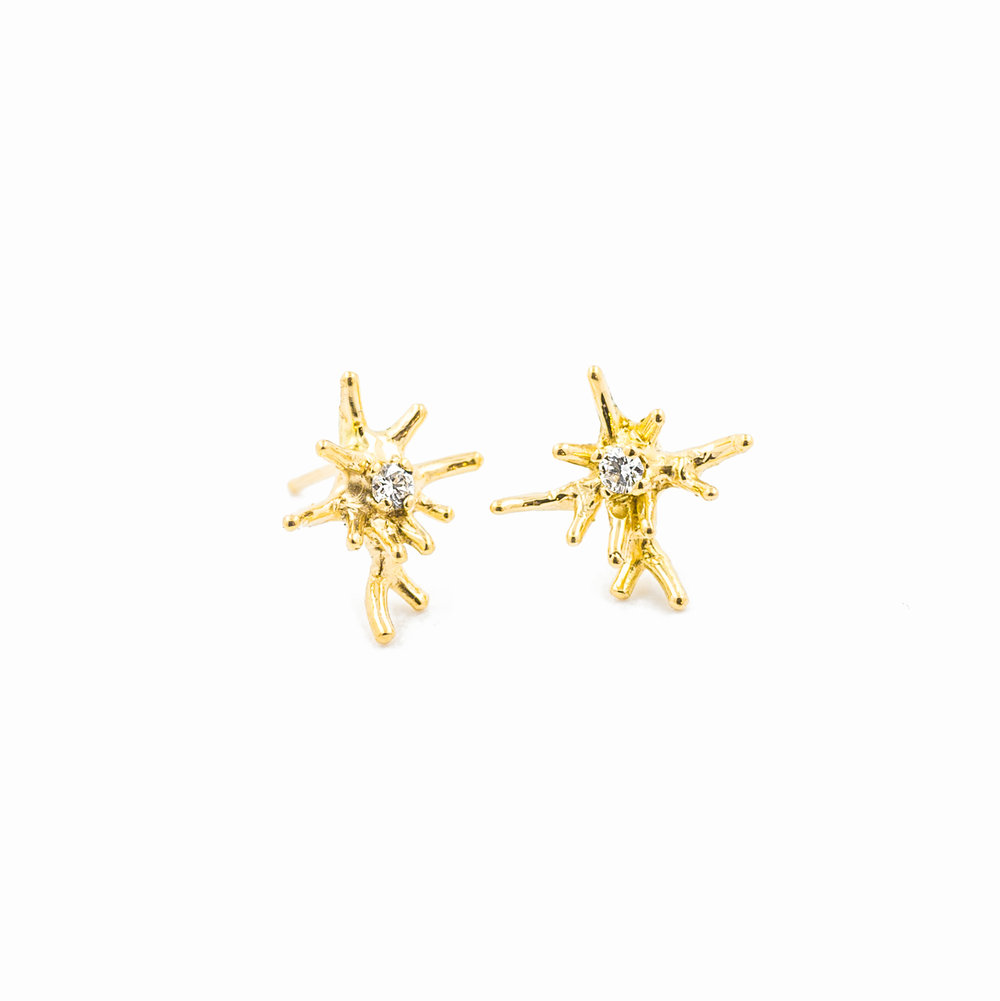 Unfolding Earrings:  18ct yellow gold, brilliant white diamonds