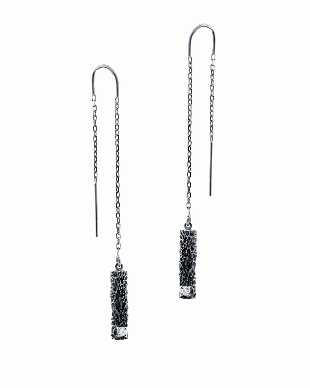 Threaded column earrings: Sterling silver, white diamonds.