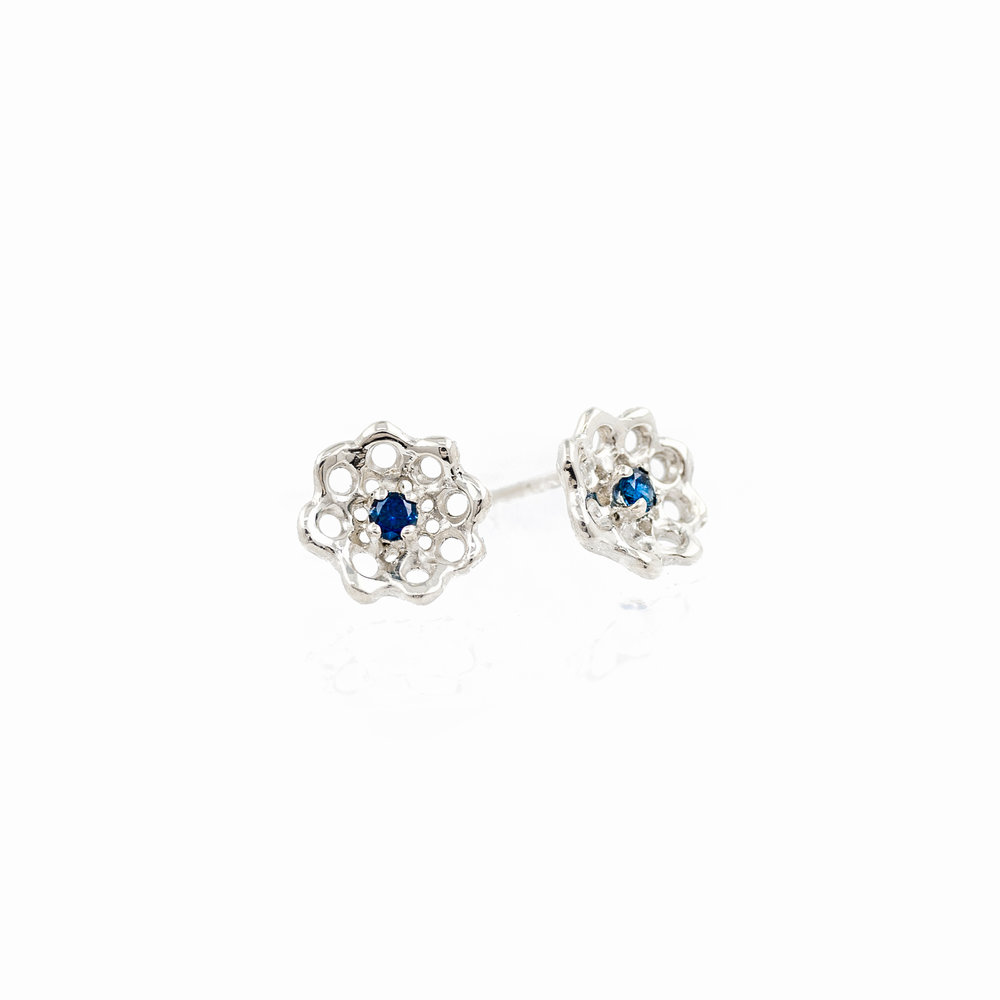 Silver Cusp Earrings: sterling silver, Australian blue sapphires.
