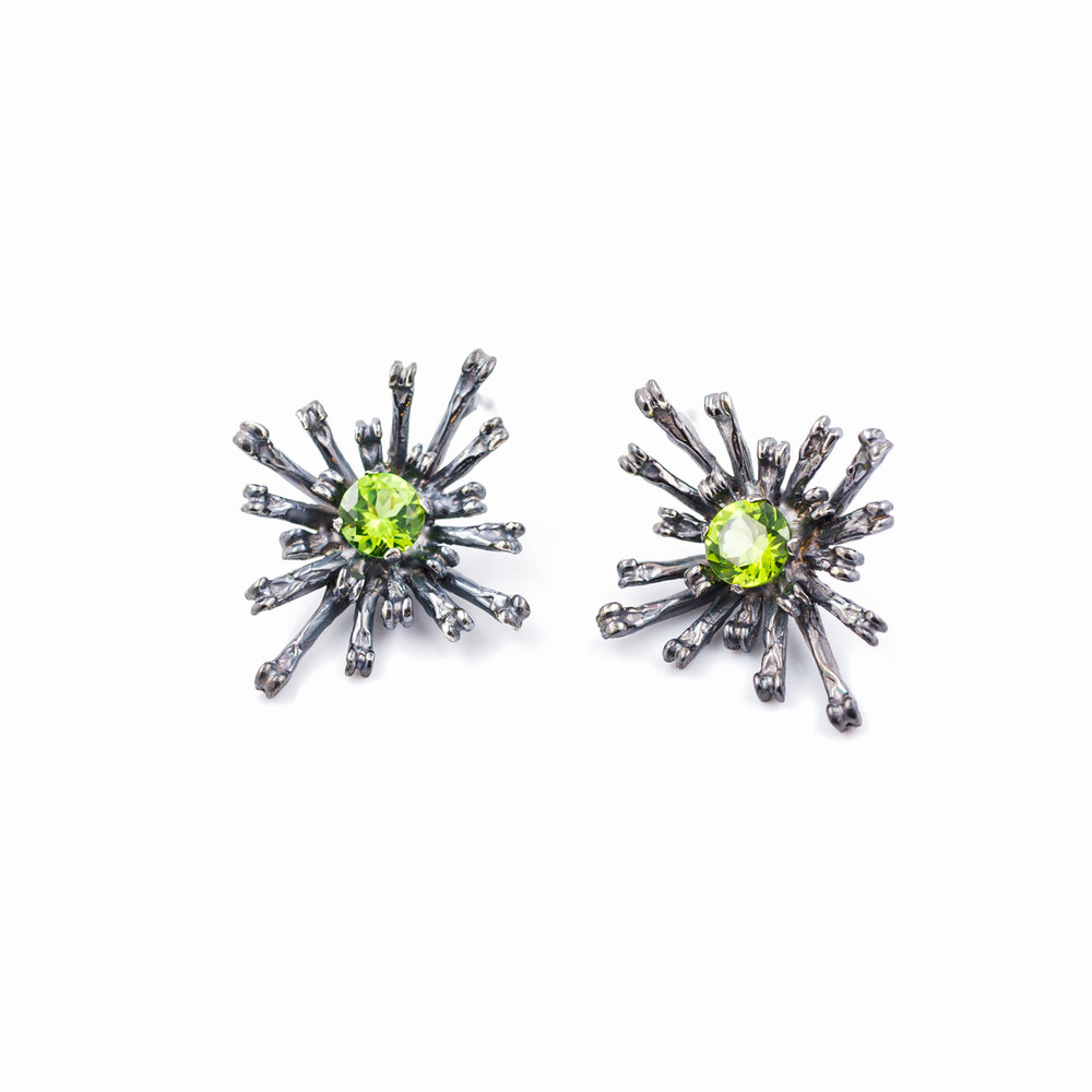Flowers Remaining Earrings | Tall: Oxidised sterling silver, peridot.