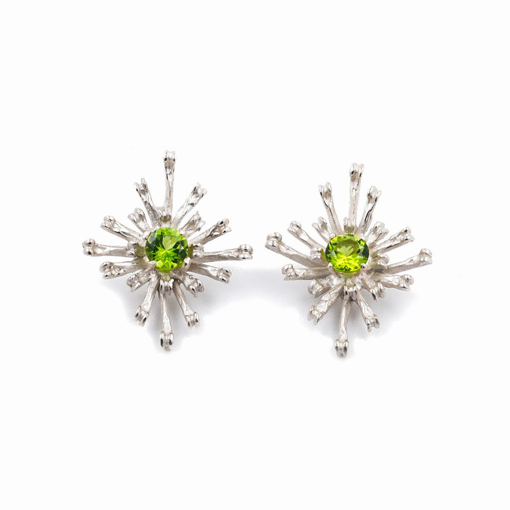 Flowers Remaining Earrings | Tall: Sterling silver, peridot.