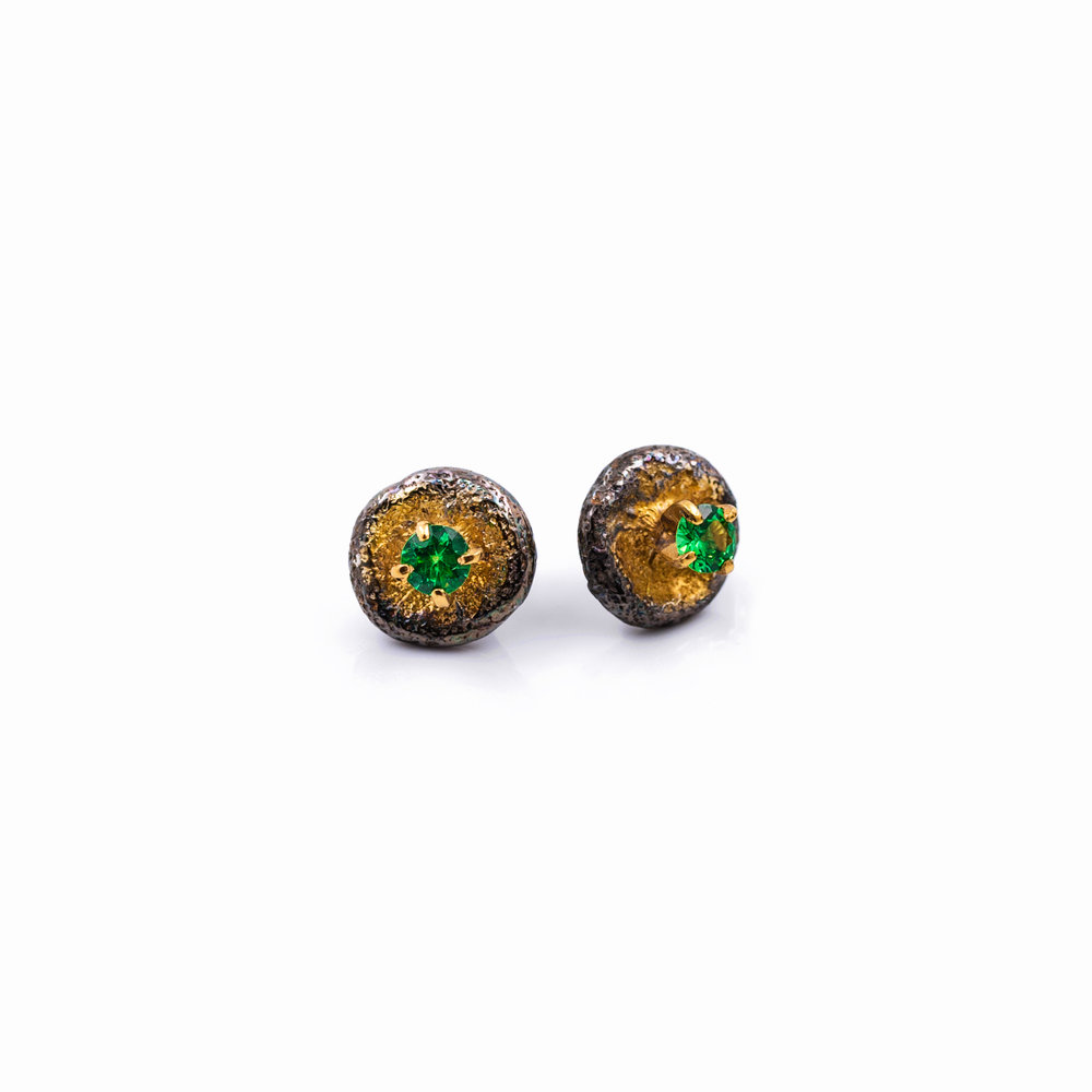 Bouton Earrings: Sterling silver, tsavorite, gold vermeil, patina.