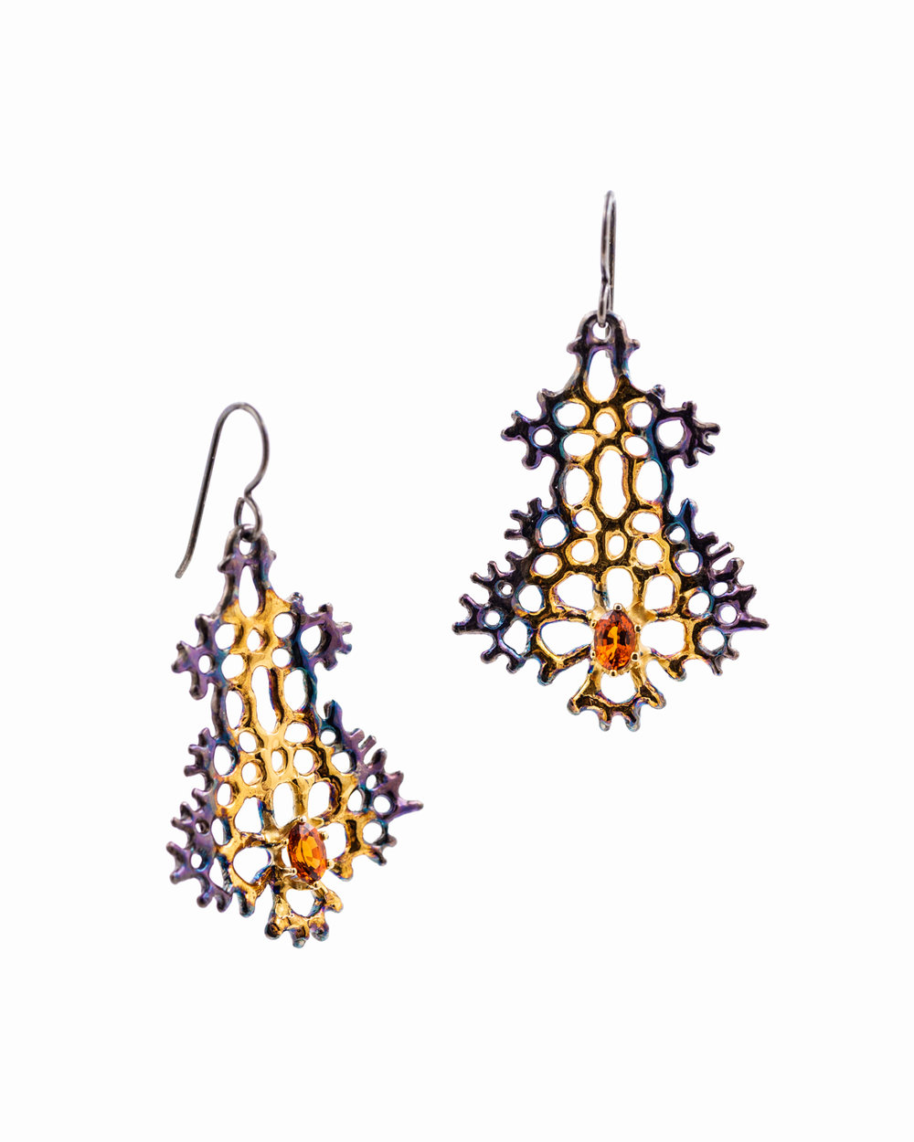 Large Radial Earrings:  Sterling silver, spessartite, gold vermeil, patina.