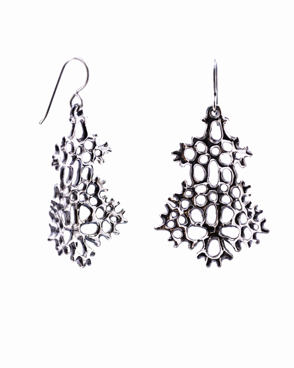 Large Radial Earrings: Oxidised sterling silver.