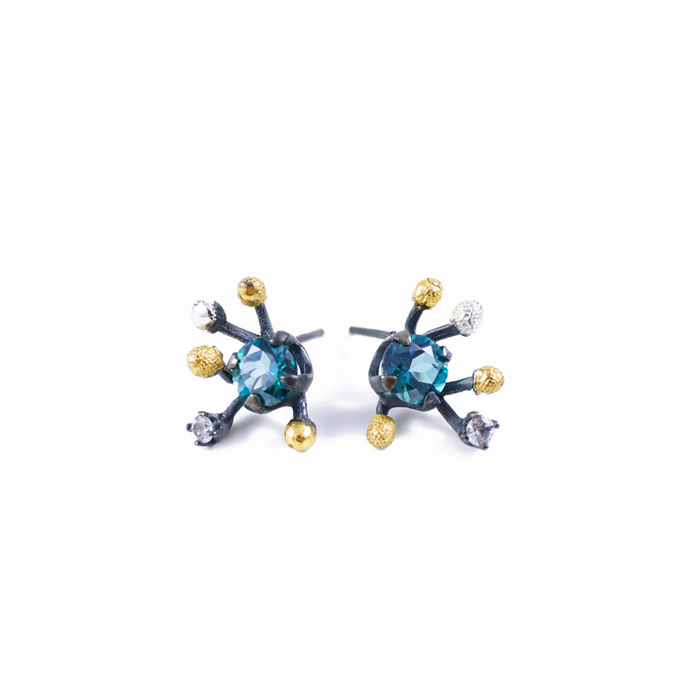 Efflorescence Earrings |  Sterling silver, topaz, tanzanite, gold vermeil, patina.