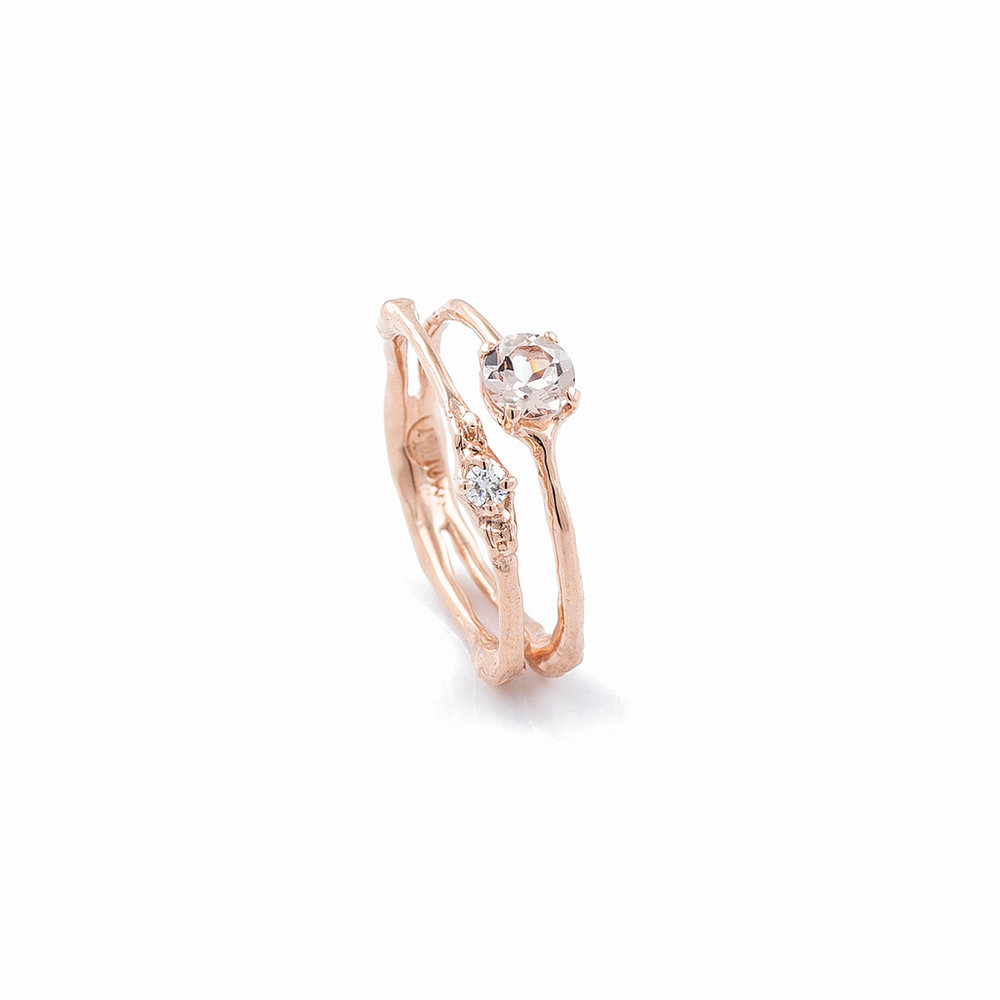 Towers Double Band | rose gold, morganite, white diamond.
