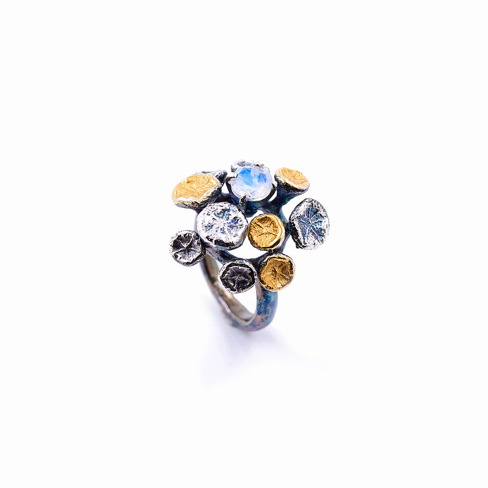 Myriad Ring | Sterling silver, moonstone, gold vermeil, patina.