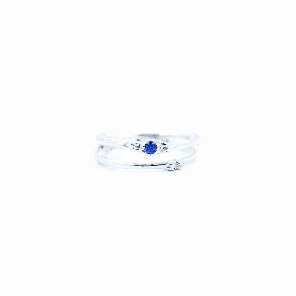 Towers Double Band | Sterling silver, blue sapphire.