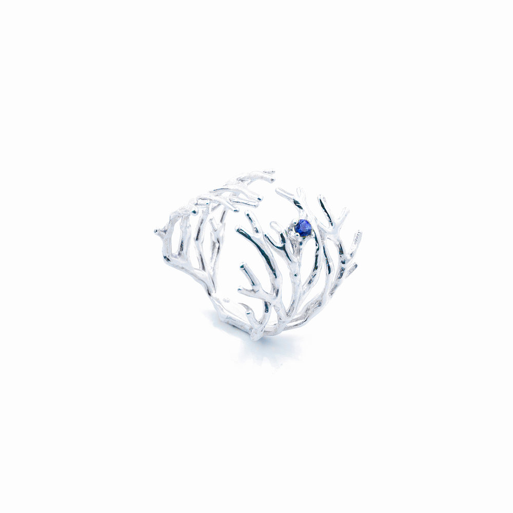 Dendrite Ring |Sterling silver, blue sapphire.