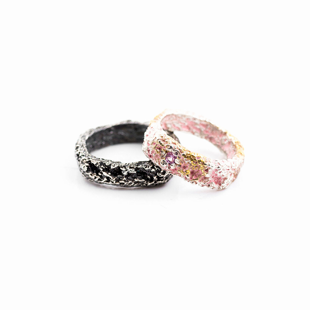Fragment Bands | Sterling silver, pink sapphire.