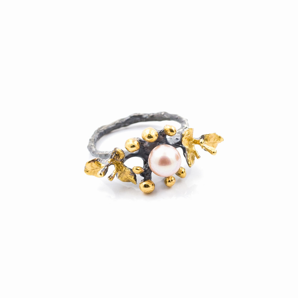 June Ring | Sterling silver, pearl, gold vermeil, patina.