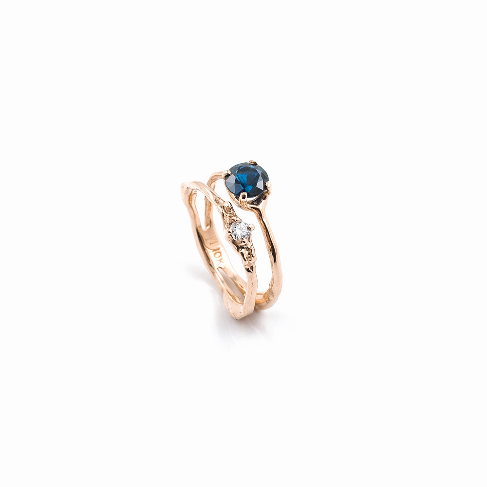 Towers Double Band | Rose gold, blue sapphire, white diamond.