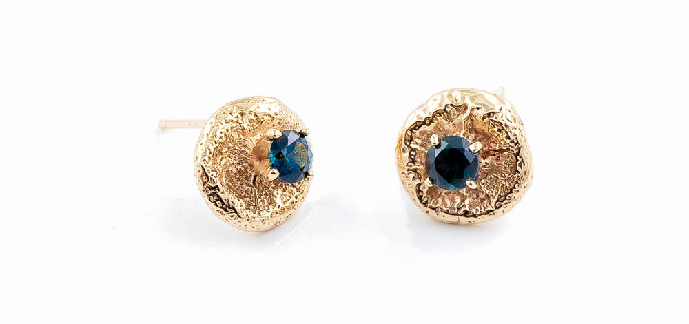 Yellow gold surfacing earrings with Australian blue sapphires | Luke Maninov Hammond