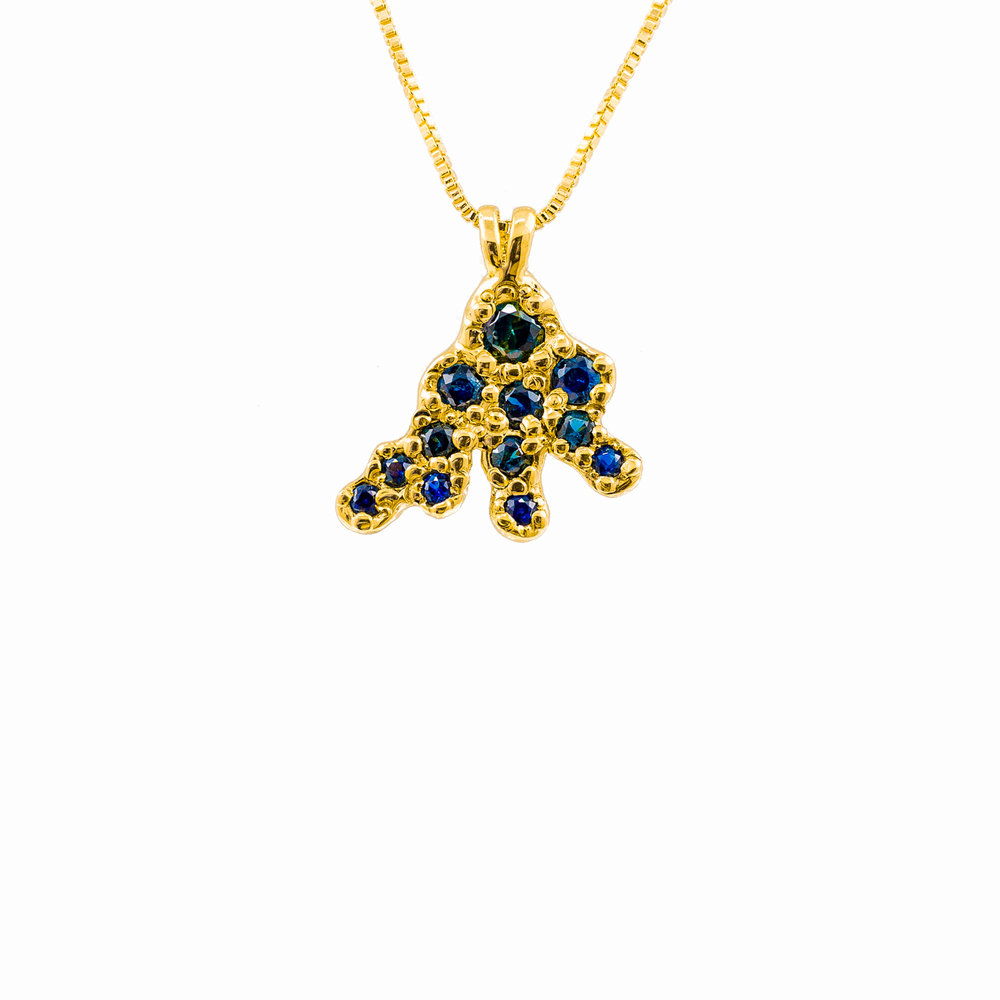 Beneath The Surface Pendant | 18ct yellow gold, Australian sapphires.