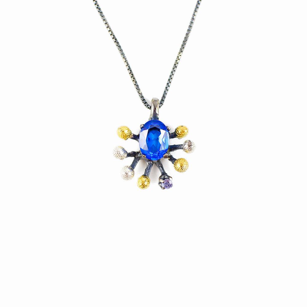 Sea Pendant | Sterling silver, topaz, tsavorite, gold vermeil, patina.