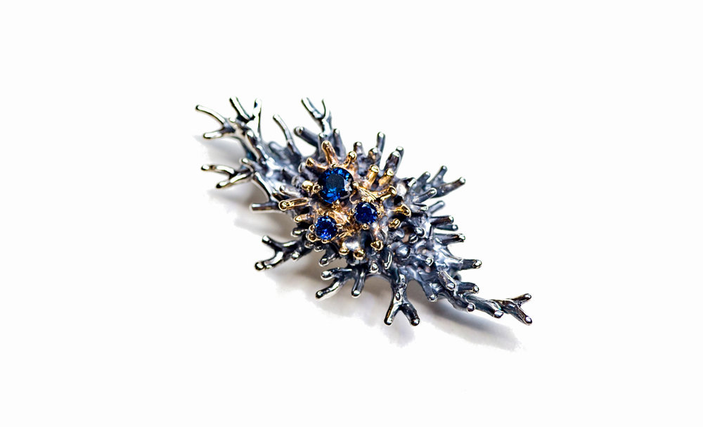 Macrophage Brooch | 14ct yellow gold, sterling silver, Australian sapphires, patina.