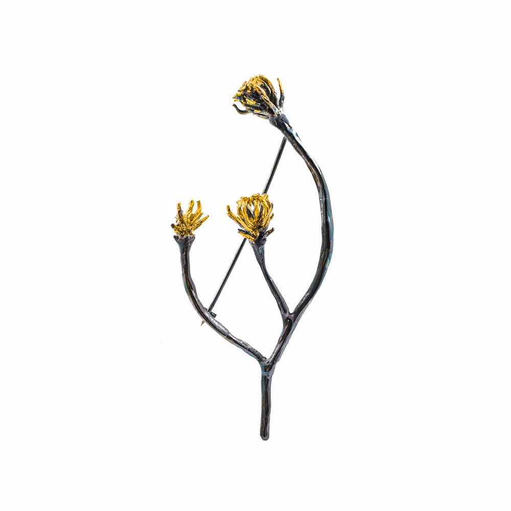 Synapse Brooch | Sterling silver, gold vermeil, patina.