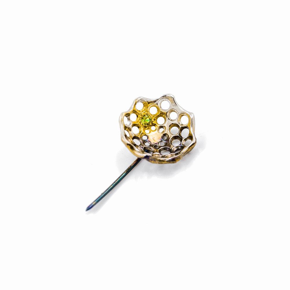 Cusp Pin | Sterling silver, tsavorite garnet, gold vermeil, patina.