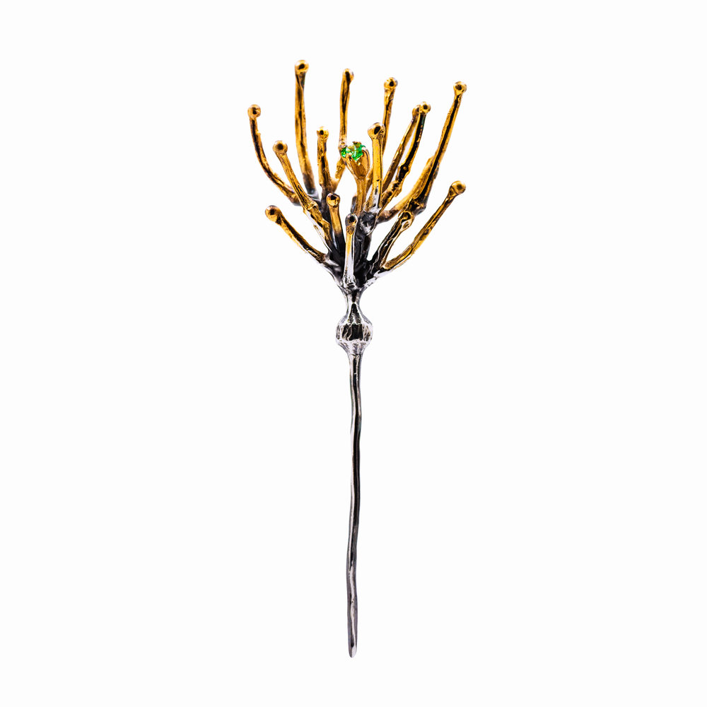 Neuron Pin | Sterling silver, tsavorite garnet, patina.